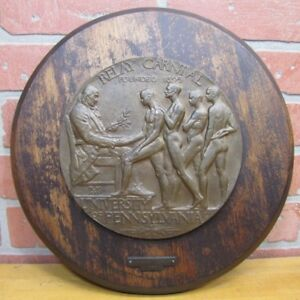 1920s-PENN-RELAY-CARNIVAL-McKENZIE-Ben-Franklin-Nude-Male-Athletes-Bronze-Plaque