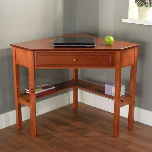 Simple Living Cherry Wood Corner Computer Desk w/ Drawer & Two Shelves