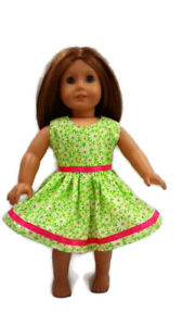 Green Daisy Summer Party Dress 18 inch Doll Clothes Fits American Girl dolls