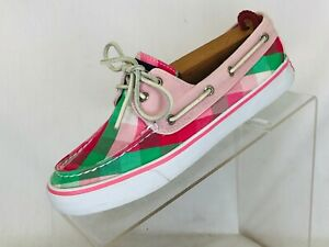 Sperry-Top-Sider-Womens-Size-7-M-Pink-Leather-Pink-Green-Plaid-Boat-Shoes