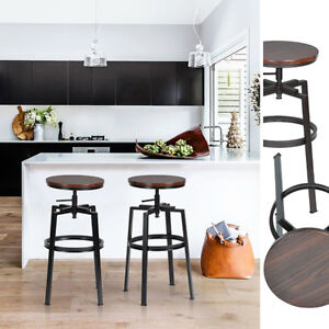 Set Of 2 Kitchen Barstools Industrial Style High Adjustable Backless