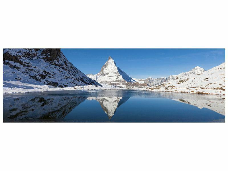 Panorama Bild Der Riffelsee am Matterhorn Leinwand Acrylglas Aluminium Metallic