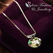 18K Rose Gold GP Made With  Swarovski Crystal Oval Cut Luminous Green Necklace