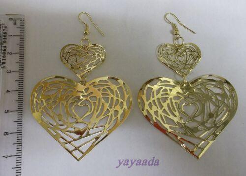 Hermoso de oro plateado cuelgan aretes largo doble corazón