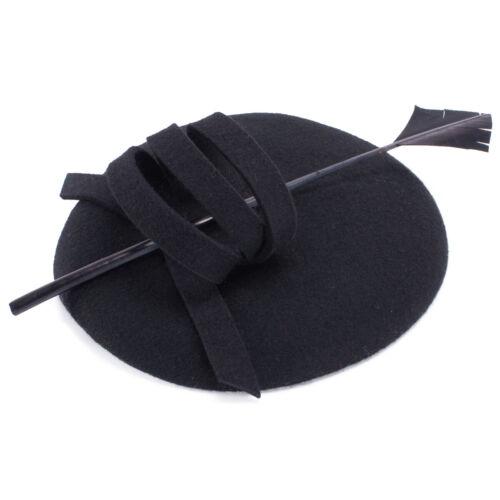 Womens Wool Felt Beret Beret Hat Fascinator Pillbox Royal Ascot Wedding A145