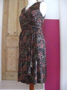 RALPH-LAUREN-wiggle-stretch-wrap-DRESS-size-medium-UK-12-14-autumnal-red-black