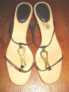 bfae69164257 Gucci Kitten Heel Sandals Womens Shoes Brown Size 40.5 C US Size 9 ...