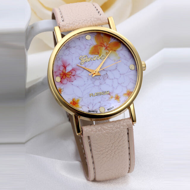 Fashion Women's Watches Flower Dial Leather Band Quartz Analog Watch Free Ship