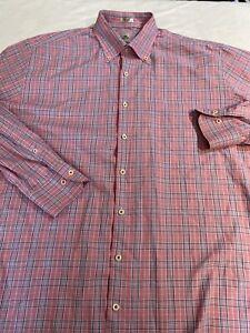 PETER-MILLAR-Pink-Plaid-Long-Sleeve-Button-Down-Shirt-cotton-Sz-XL-Euc
