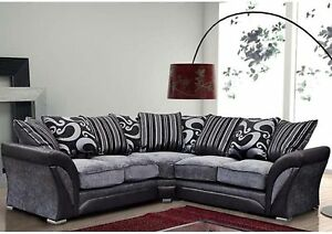 shannon corner sofa faux leather fabric black grey beige cheap ebay
