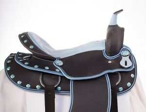 USED-16-LIGHT-WEIGHT-BLUE-SYNTHETIC-WESTERN-PLEASURE-TRAIL-HORSE-SADDLE
