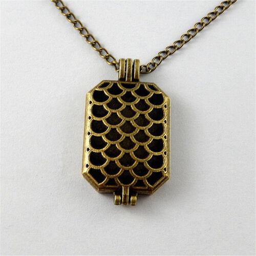 70cm Vintage Bronze Alloy Rectangle Fish Scale Locket Necklace Pendant Diffuser