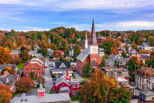 Autumn Scene Montpelier Vermont Skyline II Photo Art Print Poster 18x12