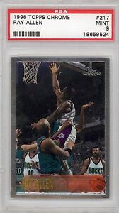 Ray-Allen-Bucks-Celtics-1996-Topps-Chrome-217-Rookie-Card-rC-PSA-9-Mint-QTY