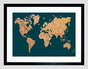 World map continents made brick black frame framed art print image is loading world map continents made brick black frame framed gumiabroncs Image collections