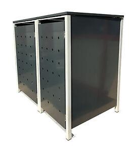 2er-Muelltonnenschrank-240L-Metall-Muelltonnenbox-Muellbox-Metall-Grau-NEU-OP