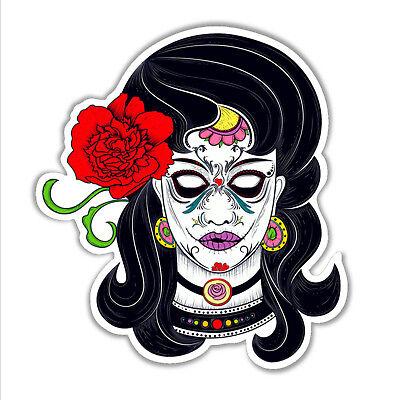fun car bumper sticker sugar skull girl day of the dead lady 106 x 96 mm vinyl