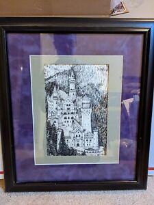 Neuschwanstein Castle Framed Original Pen and Ink Drawing, unsigned