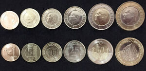 TURKEY-SET-6-COINS-1-5-10-25-50-KURUSH-1-LIRA-BIMETALLIC-2014-2017-UNC