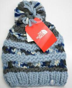 51253887ca9 The North Face Unisex Nanny Knit Beanie Pom Pom Hat One Size Blue ...
