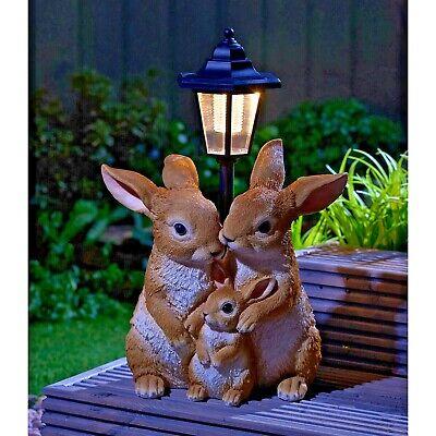 Solar Powered LED Rabbit Family Lantern Light Decorative Garden Bunny Ornament