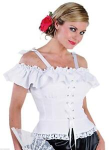 Bluse-Kostuem-Damen-Trachten-Dirndel-Dirndl-Cowgirl-Spanierin-Saloon-Carmenbluse