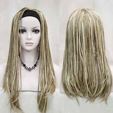 Long Straight Blonde Ombre Braided Cosplay Wig Cornrows Hair Headband Full Wig