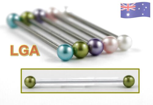 Olive Pearl Industrial bar barbell 14g 35mm Ear Cartilage Scaffold FREE POST