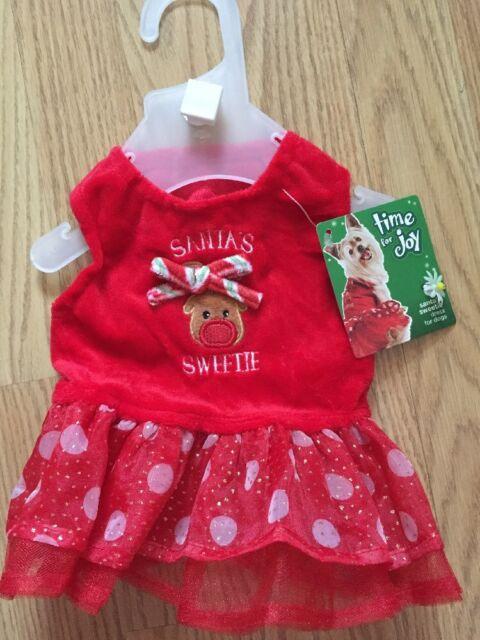 petco holiday time for joy red christmas dress santas sweetie puppydog xxs