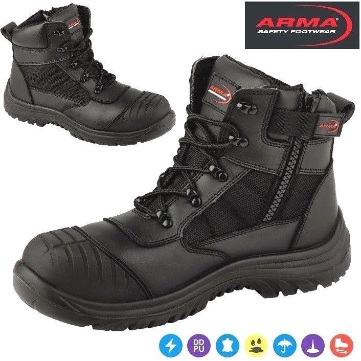 ARMA Titan Leather Safety Steel Toe Cap Zip Lace Work Waterproof Men Ankle Boots