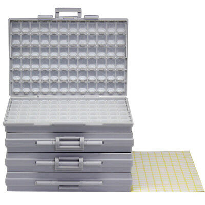 4pcs BOX-ALL enclosures 144 space w/ lids labels SMD SMT resistor Organizer 0805