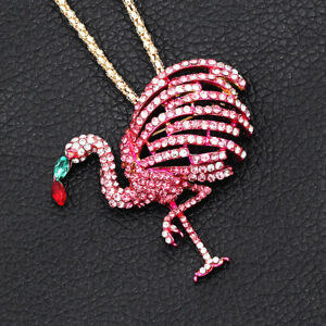 Betsey-Johnson-Pink-Crystal-Cute-Flamingo-Bird-Pendant-Chain-Necklace-Brooch-Pin