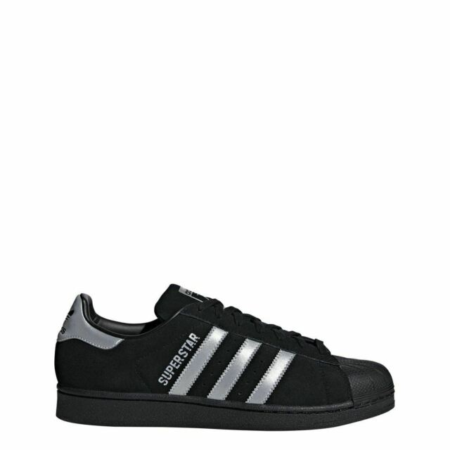 quality design c243f 8c33a adidas Superstar Mens B41987 Black Silver Suede Shell Toe Shoes Size ...