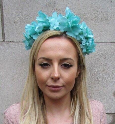 Bleu Turquoise Vert Hydrangea Fleur Cheveux Couronne Festival Bandeau Garland T26