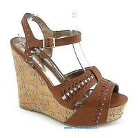 Women soda Trant Tan Casual Platform Wedge Sandal