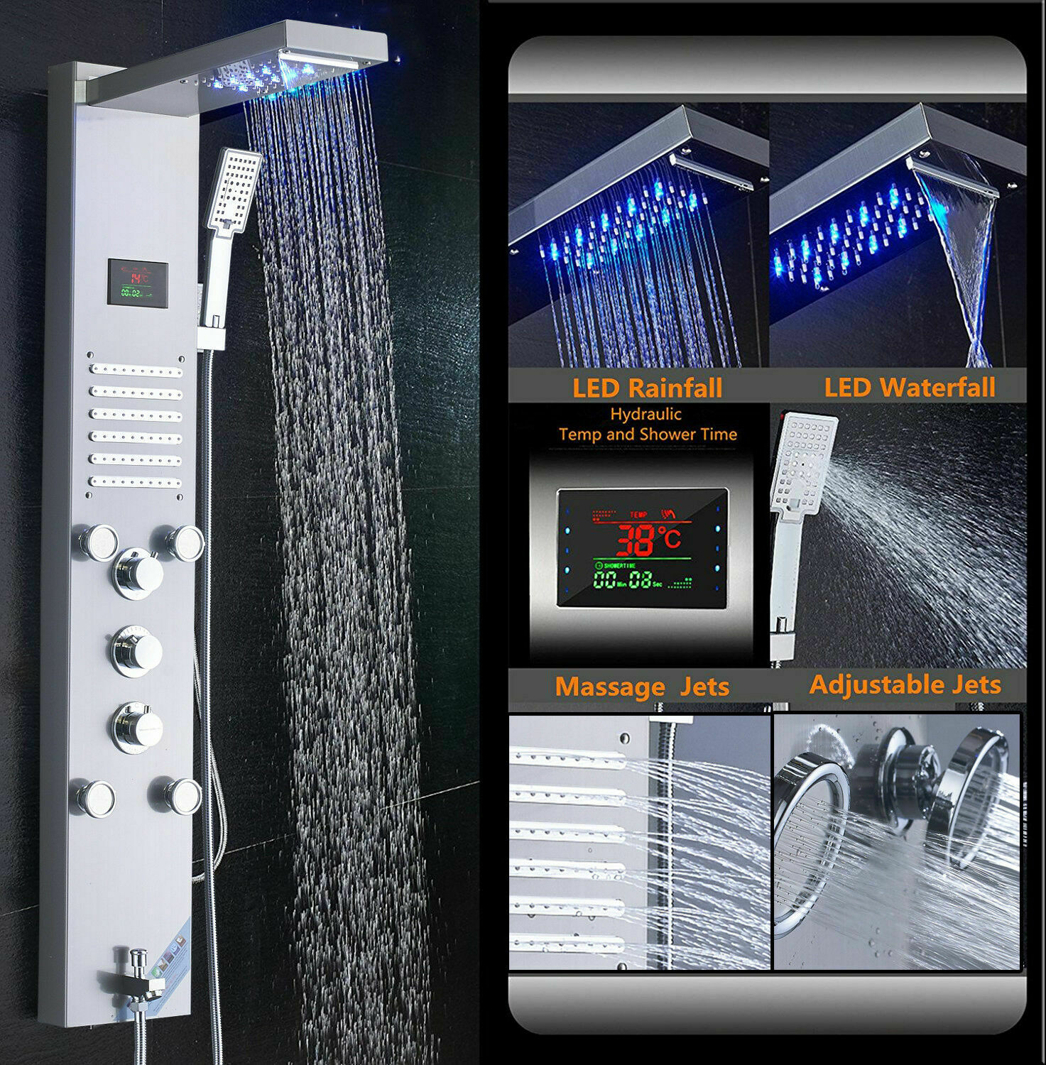 Brushed Nickel Shower Panel Tower LED Rain/&Waterfall Massage Body System Jets