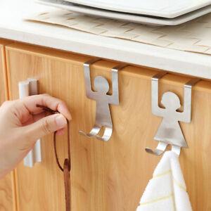 2Pcs-Stainless-Steel-Hooks-Over-Door-Hanger-Punch-free-Clothes-Towel-Coat-Rack