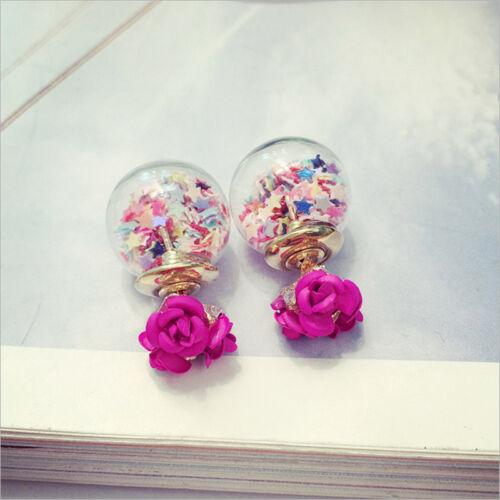 Vogue Double Coloré Rose Fleur Bulle boule de verre Souhaitant étoiles Boucles D/'oreilles Clou