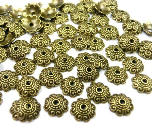 100  Perlkappen Farbe bronze 8mm Spacer Kappen Endkappen Metall #S481