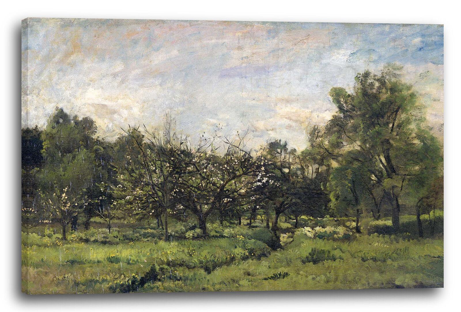 Lein-Wand-Bild Kunstdruck  Charles Francois Daubigny Orchard 1869