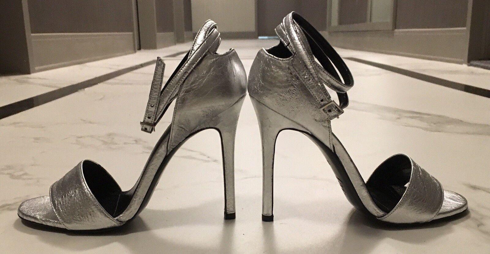 NWB Scanlan Theodore argent Leather High High High Heel Ankle Strap Sandals Stilettos 37 5a15b9