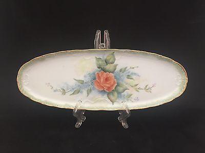 Vintage Gerold Porzellan Peach Rose Dresser Vanity Perfume Oval Tray W Germany