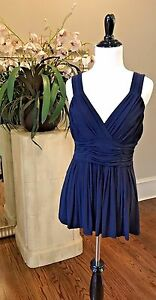 NWT-Burberry-London-Pleated-Georgette-Top-Navy-375-S