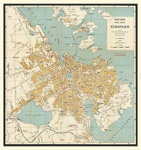 MAP-ANTIQUE-1938-DREYER-STAVANGER-NORWAY-OLD-LARGE-REPLICA-POSTER-PRINT-PAM0501