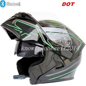 658af53f Image is loading DOT-Motorcycle-Headset-Bluetooth-Helmet-Modular-Dual-Visor-