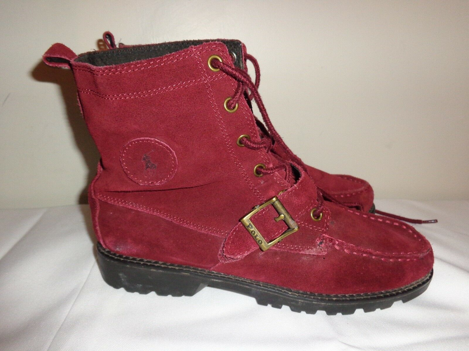 POLO RALPH LAUREN RANGER burgundy SUEDE LEATHER BUCKLE BOOTS Sz 9