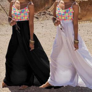 Plus-Size-Women-Floral-Long-Sleeveless-Ladies-Summer-Beach-Holiday-Maxi-Dress-UK