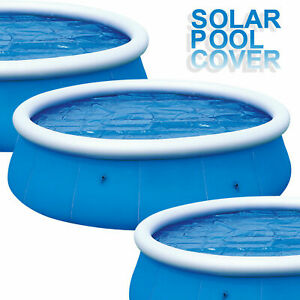 SOLAR POOL COVER 8FT /10FT FAST SET ROUND INFLATEABLE SWIMMING PADDLING DEBRI UK