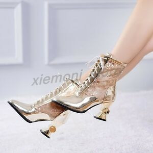 2016-Shiny-Patent-Leather-Mesh-Ankle-Boots-Lace-Up-Irregular-Shoes-Plus-Size-9-2
