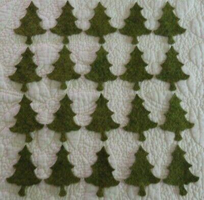 pRiMiTiVe Wool Felt Die Cut Shapes~Penny Rug~Applique~Snowmen /& Pine Trees~24 pc